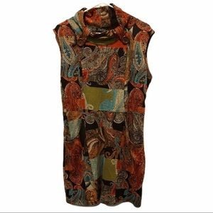 Papillon sleeveless tunic print dress size medium